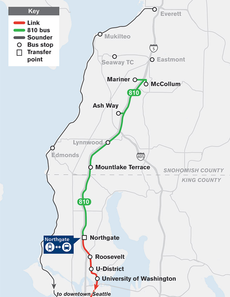 El mapa muestra que la Ruta 810 viajará desde McCollum Park-and-Ride hasta Northgate con paradas en Mariner, Ash Way y Mountlake Terrace.