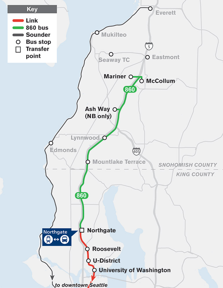 El mapa muestra que la Ruta 860 viajará desde McCollum Park-and-Ride hasta Northgate con paradas en Mariner y Ash Way.