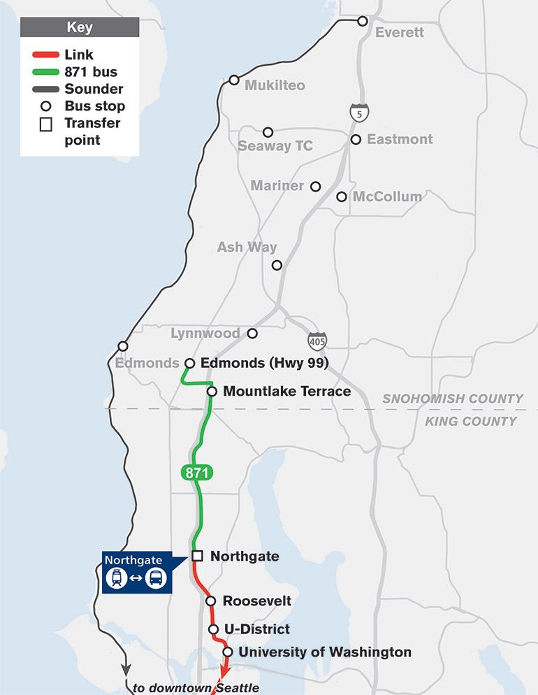 El mapa muestra que la Ruta 871 viajará de Edmonds a Northgate con paradas en Mountlake Terrace.