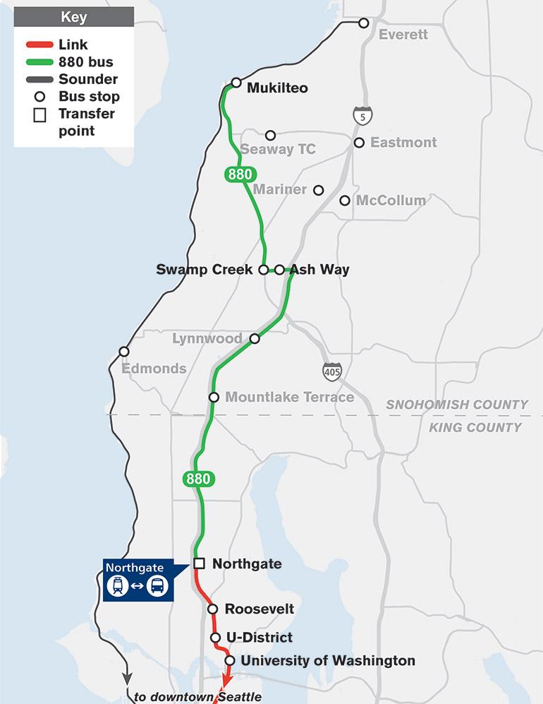 El mapa muestra que la Ruta 880 viajará de Mukilteo a Northgate con paradas en Swamp Creek y Ash Way.