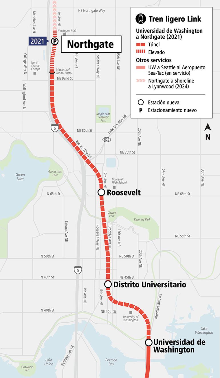Mapa que muestra tres estaciones nuevas de Link en Northgate, Roosevelt y U District. Estas estaciones se abrirán en 2021.