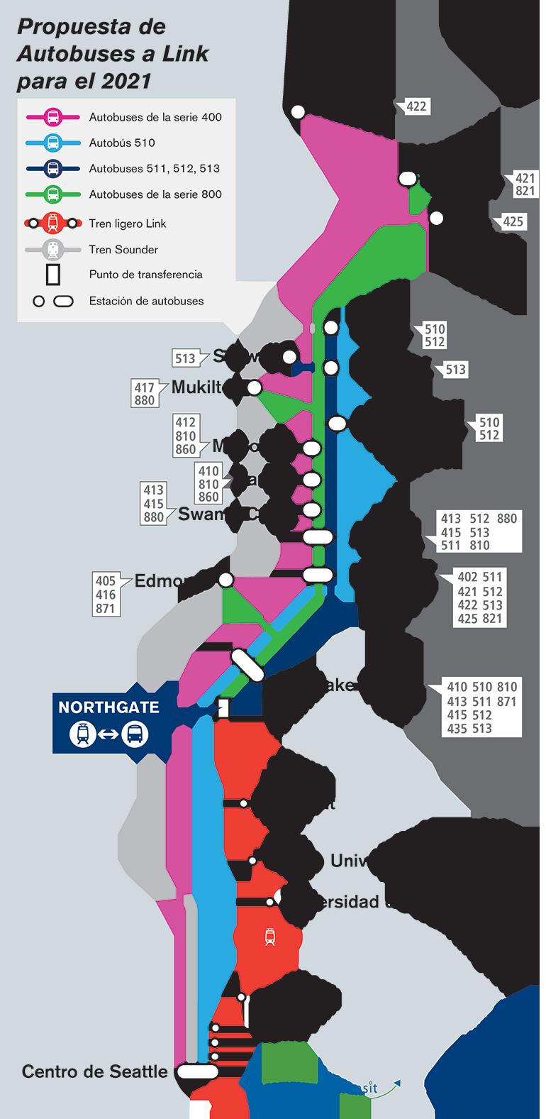 Mapa de los condados de Snohomish y King que muestra el bosquejo del servicio propuesto para Sound Transit y Community Transit. Las rutas terminarán en la estación Northgate o continuarán hacia el centro de Seattle.