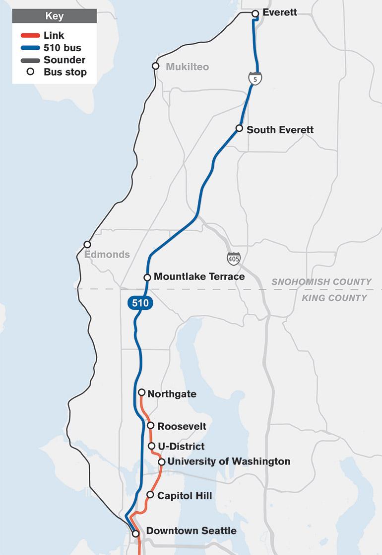 El mapa muestra que la Ruta 510 viajará de Everett al centro de Seattle con paradas en South Everett y Mountlake Terrace.