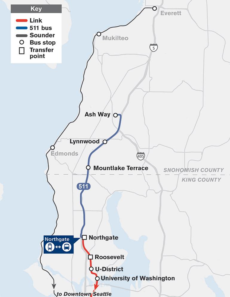 El mapa muestra que la Ruta 511 viajará desde Ash Way Park-and-Ride hasta Northgate con paradas en Lynnwood y Mountlake Terrace.