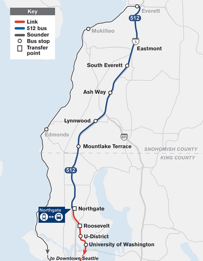 El mapa muestra que la Ruta 512 viajará desde la estación de Everett hasta Northgate con paradas en South Everett, Ash Way Park-and-Ride, Lynnwood y Mountlake Terrace.