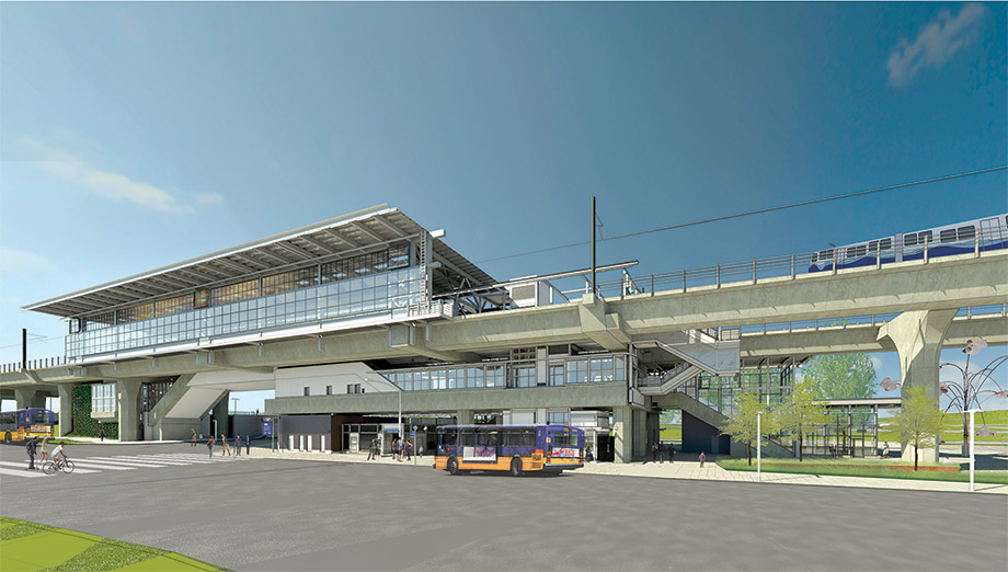 Three-dimensional rendering of the new Northgate Station. The station is two stories and has an elevated light rail track. A bus waits in front of the station at ground level.