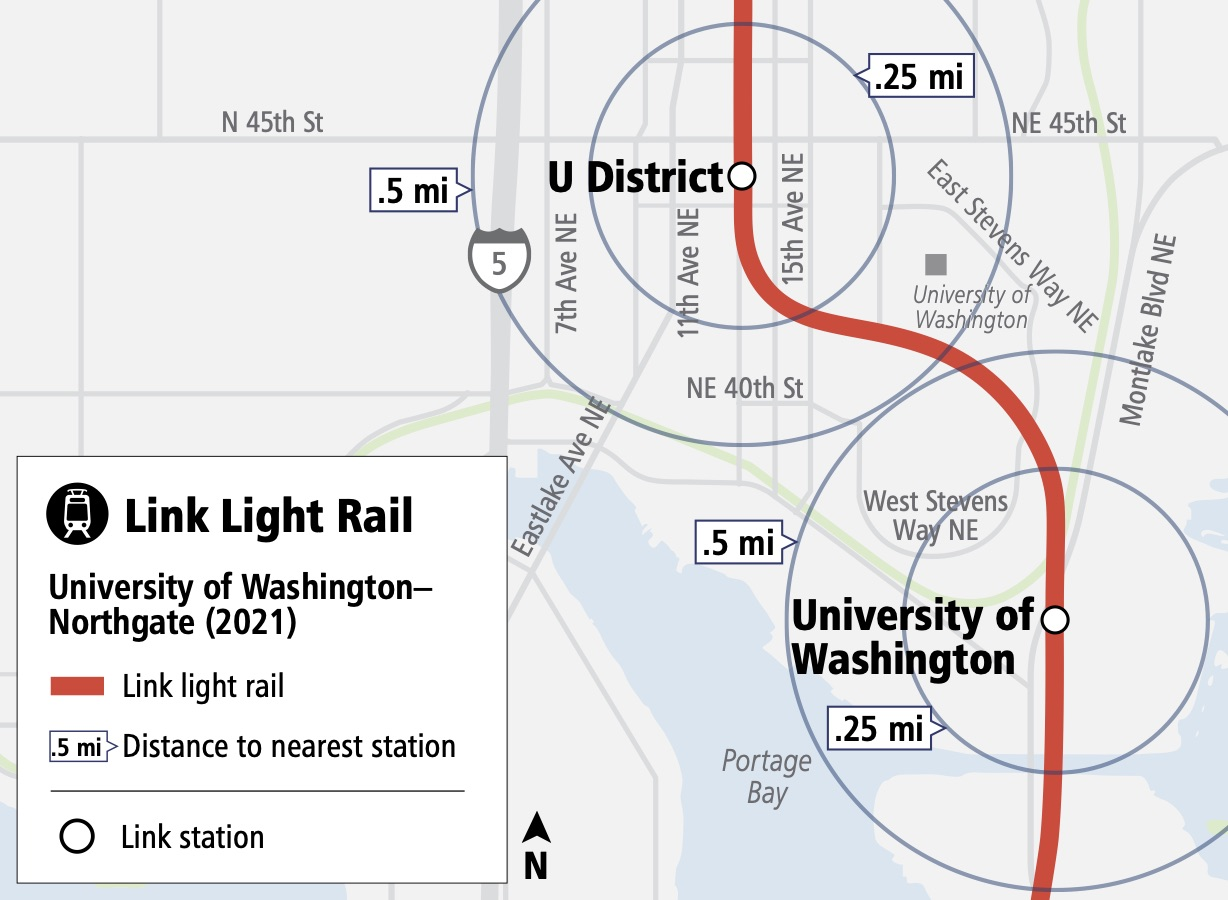 Map showing walking distances from the future U District Station and University of Washington Station. Circles indicate the distance you can walk in 0.25 miles or 0.5 miles.