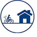 link of person bicycling towards a house