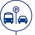 icon of parking sign with car and bus waiting